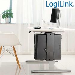 Logilink EO0031 - Soporte CPU bajo mesa, Giratorio, Deslizable, Bloqueo fácil
