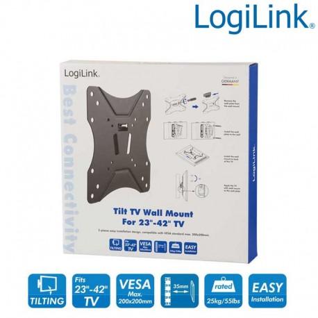 Logilink BP0005 - Soporte TV de Pared, inclinación -12º/+3º, 23-42'', 25 kg