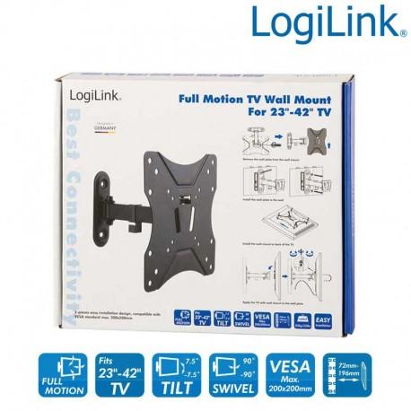 Logilink BP0007 - Soporte TV de Pared, inclinación -7.5º/+7.5º, Giratorio -90º/+90º, 23-42'', 25 kg
