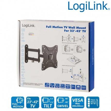 Logilink BP0008 - Soporte TV de Pared, inclinación -7.5º/+7.5º, Giratorio -90º/+90º, 23-42'', 25 kg