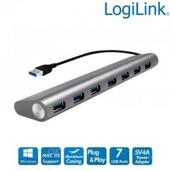 Hub USB de 7 puertos USB 3.0 tipo A, Aluminio, Gris Logilink UA0308