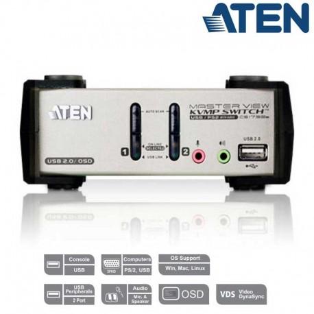 Aten CS1732B - KVM de 2 Puertos USB PS/2 VGA con Audio
