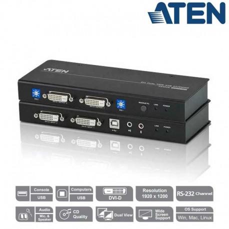 Aten CE604 - Extensor KVM DVI Dual View y RS-232