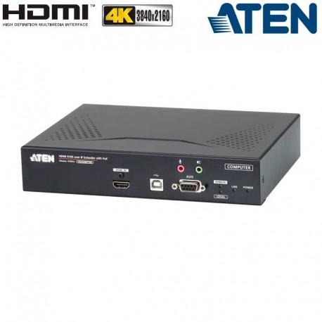 Aten KE8952T - Transmisor KVM USB-HDMI 4K con Audio y RS232 sobre LAN con POE