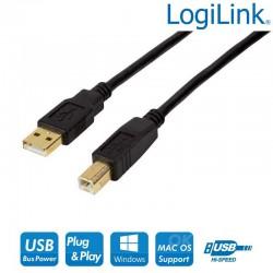 Logilink UA0264 - Cable Activo USB 2.0 A-B Negro (10m) | Marlex Conexion