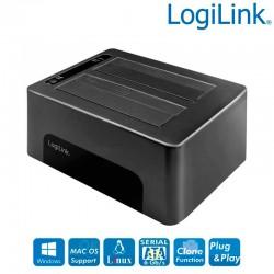 "Logilink QP0029 - Docking Station USB 3.2 Gen1, 2 bahías, para HDD / SSD SATA de 2.5 o 3.5 """