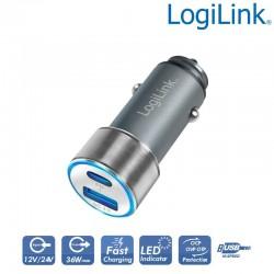 Logilink PA0252 - Cargador de coche USB, 1x USB-C PD, 1x USB-A QC