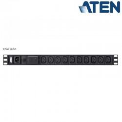 PDU Básica 1U de 18 Tomas C13, con protección sobretensión,10A Aten PE0118SG