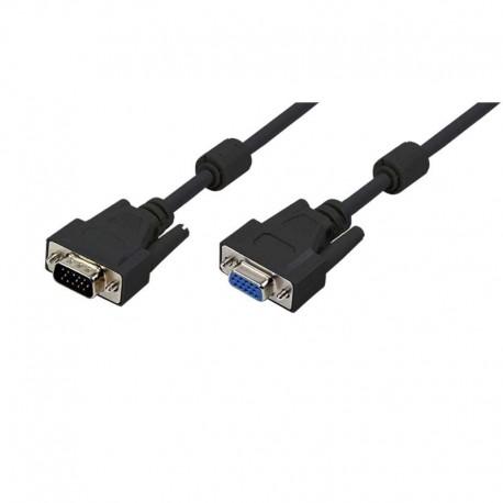 Logilink CV0005 - 3m Cable SVGA con Ferrita Macho-Hembra Negro | Marlex Conexion