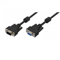 5m Cable SVGA con Ferrita Macho-Hembra Negro Logilink CV0006