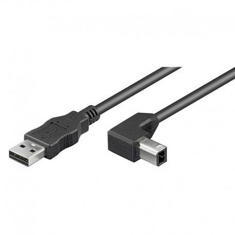 Cable USB 2.0 A-B Acodado de 0.5m, Negro | Marlex Conexion