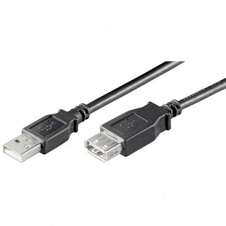 Cable USB 2.0 A-A Macho-Hembra de 1.8m, Negro | Marlex Conexion