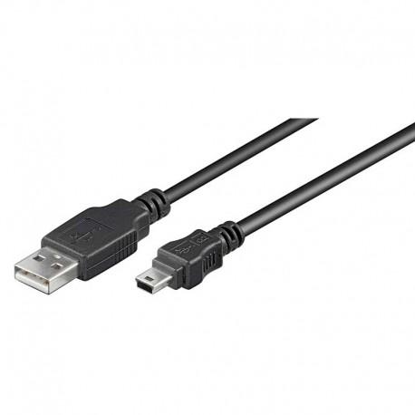 Cable USB 2.0 A-MINI B 5pins de 0,30m, Negro | Marlex Conexion