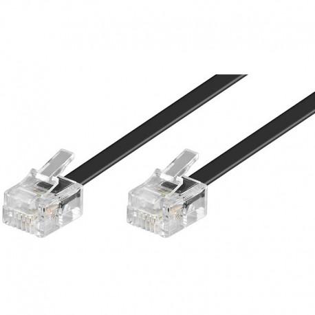15m Cable de teléfono RJ11 Macho-Macho Negro | Marlex Conexion