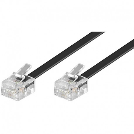 3m Cable de teléfono RJ11 Macho-Macho Negro | Marlex Conexion