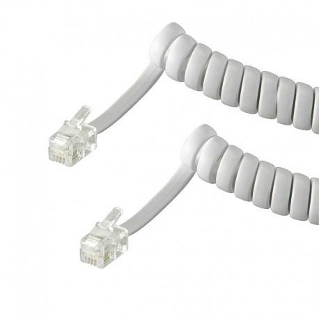 4m Cable de teléfono RJ10 Macho-Macho Rizado Blanco | Marlex Conexion