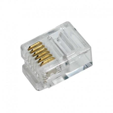 Logilink MP0019 - Conector Telefónico RJ12 6/6 (Bolsa 100 pcs)