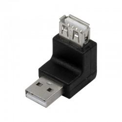Adaptador USB 2.0 A Macho-Hembra Acodado 270º Logilink AU0027