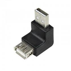Adaptador USB 2.0 A Macho-Hembra Acodado 90º Logilink AU0025