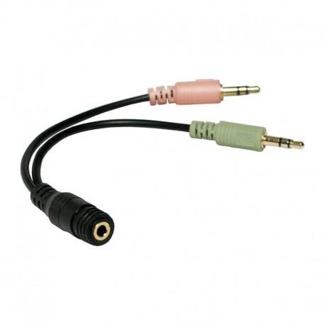Logilink CA0020 - 15cm Cable Adaptador Jack 3,5 H (4pin) 2 Jack 3,5 M | Marlex Conexion