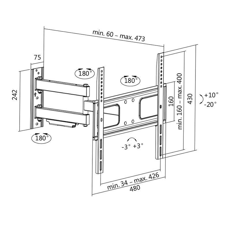 Soporte tv de pared inclinaci n 20 10 giratorio 90 - Soporte tv giratorio ...