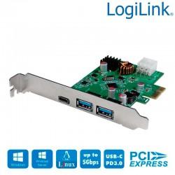Logilink PC0090 - Tarjeta PCI Express ,USB 3.2 Gen1, 1 x USB-C PD3.0 y 2 x USB A 3.0