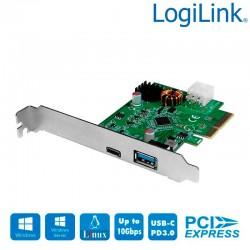 Logilink PC0089 - Tarjeta PCI Express ,USB 3.2 Gen2x1, 1 x USB-C PD3.0 y 1 x USB 3.0