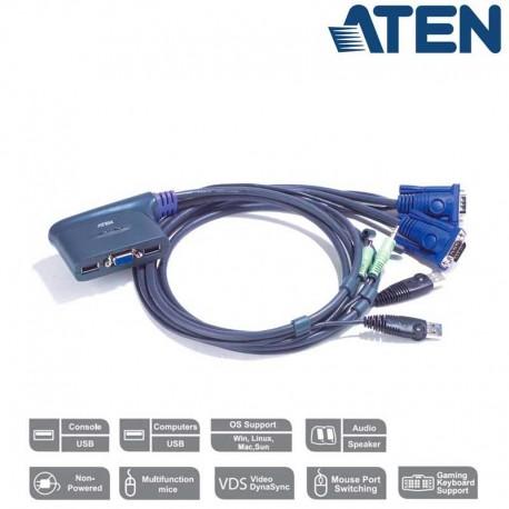 Aten CS62US - Conmutador KVM de 2 Puertos USB VGA con Audio