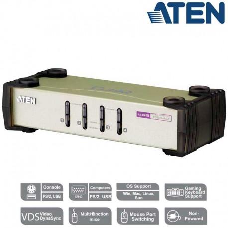 Aten CS84U - Conmutador KVM de 4 Puertos USB PS/2 VGA