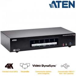 Aten CS1964 - KVM de 4 Puertos USB 3.0 DisplayPort tres pantallas
