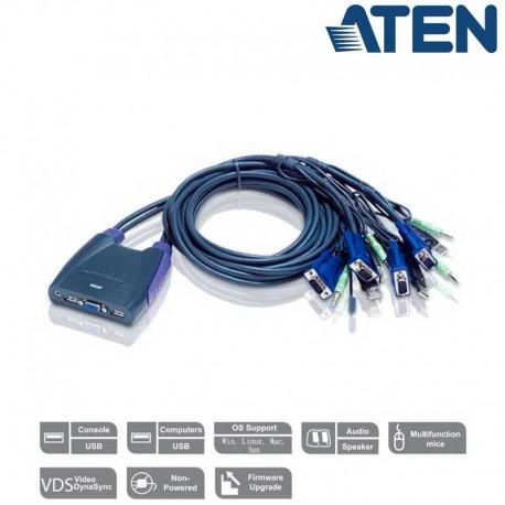 Aten CS64US - Conmutador KVM de 4 Puertos USB y VGA con Audio incluido