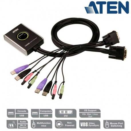 Aten CS682 - Conmutador KVM de 2 Puertos USB DVI con Audio incluido