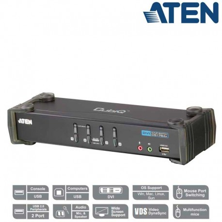 Aten CS1764A - KVM de 4 Puertos USB DVI con Audio y Hub USB 2.0