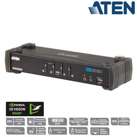 Aten CS1784A - KVM de 4 Puertos USB DVI Dual Link con Audio y Hub USB 2.0