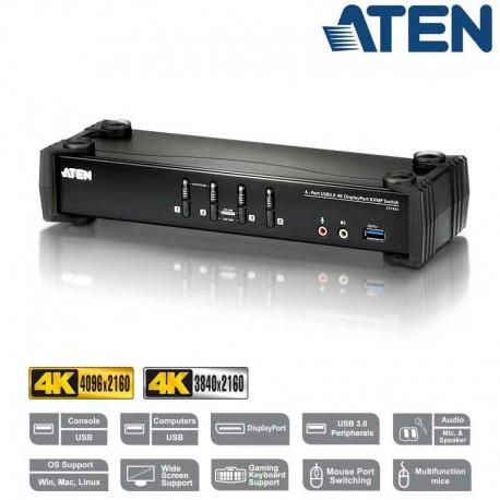 Aten CS1924 - KVM de 4 Puertos USB 3.0 DisplayPort 1.2, 4K con Audio