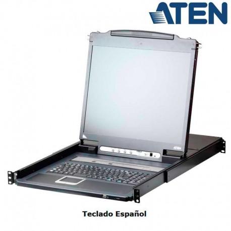 """Aten CL5708IN - KVM LCD 19"""" 8 puertos USB&PS/2 VGA,Sobre IP (1 Local /1 Remoto), USB Perif. Rack 19''"""