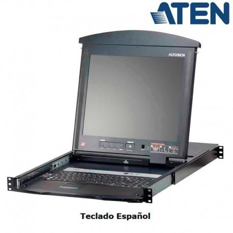 Aten KL1508AN - KVM Cat 5e/6 LCD 19'' de 8 Puertos, Dual Rail, para Rack 19''