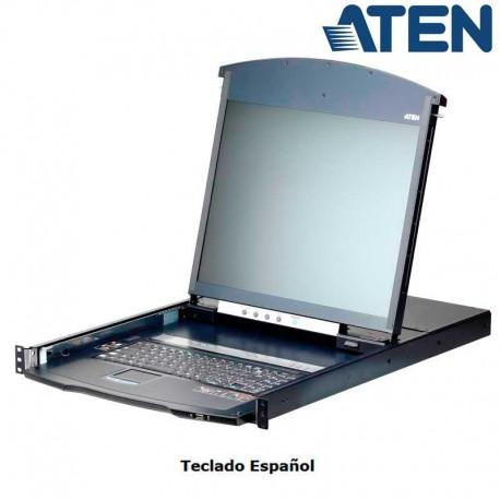 Aten KL1108VN - KVM Cat 5e/6 LCD 19'' de 8 Puertos, Sobre IP de 2 buses, Dual Rail, para Rack 19''