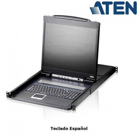 "Aten CL1308N - KVM LCD 19'' de 8 Puertos USB PS/2 VGA para Rack 19"""