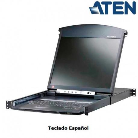 Aten KL1516AIN - KVM Cat 5e/6 LCD 19'' de 16 Puertos, Sobre IP (1 Local/Remoto), Dual Rail, Rack 19''