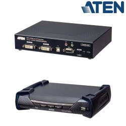 Receptor KVM USB-DVI doble pantalla con Audio y RS232 sobre LAN Aten KE6940AR