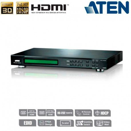 Aten VM5404H - Conmutador Matricial HDMI 4x4 (Videowall y Escalador)