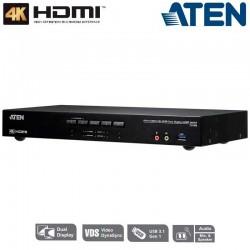 KVM de 4 Puertos USB 3.0 HDMI 4K Dual View Aten CS1844