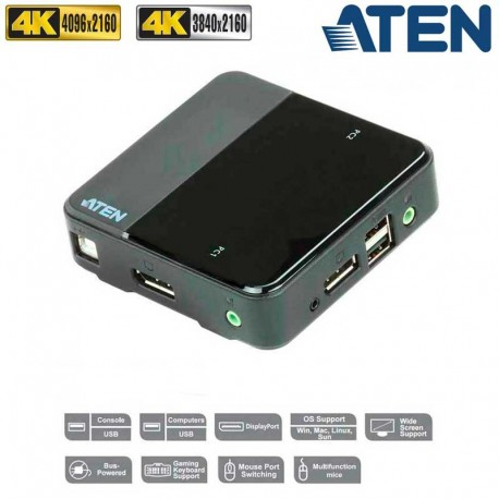 Aten CS782DP - Conmutador KVM de 2 Puertos USB DisplayPort 4K
