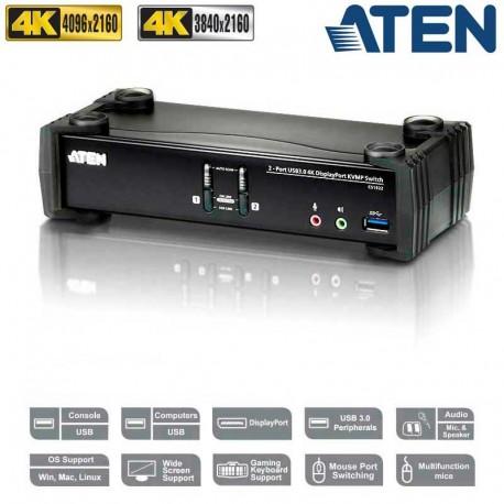 Aten CS1922 - KVM de 2 Puertos USB 3.0 DisplayPort 1.2, 4K con Audio