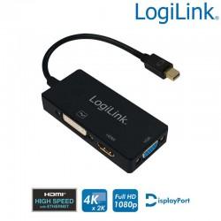Cable Adapt Mini DisplayPort 1.2 Macho a HDMI-DVI-VGA Hembra Logilink CV0110