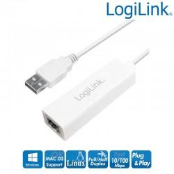 Logilink UA0144B - Cable Adaptador USB 2.0 a Fast Ethernet (11cm)