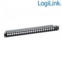 Logilink NK4043 - Patch Panel Vacio para 24 puertos UTP RJ45, Negro | Marlex Conexion