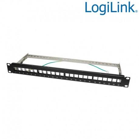 Logilink NK4042 - Patch Panel Vacio para 24 puertos FTP RJ45, Negro   Marlex Conexion