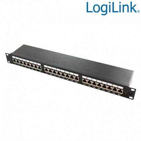 "Logilink NP0061 - Patch Panel 19"" Cat. 6A STP 24 puertos, Negro | Marlex Conexion"
